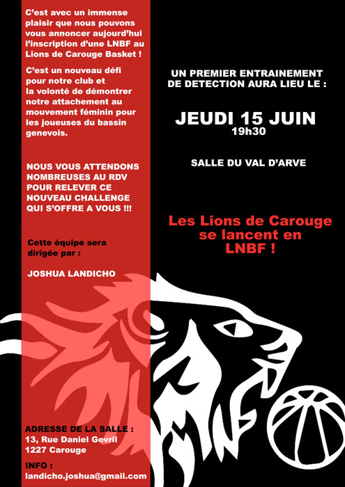 Flyer ouverture LNBF 2017-2018 - Lions de Carouge