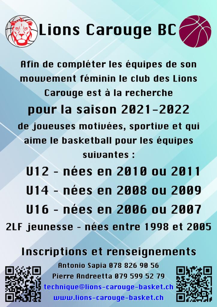 LC Féminin Flyer 2021-2022